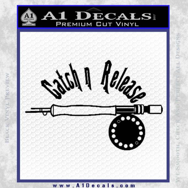 Catch And Release Reel Decal Sticker Black Vinyl