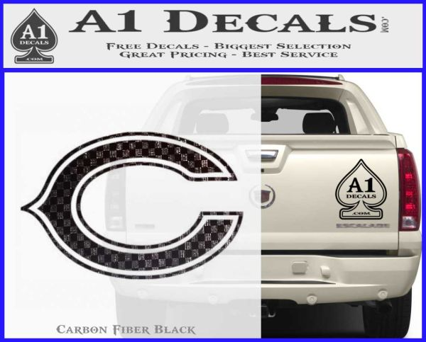 Chicago bears c decal sticker carbon fiber black vinyl 120x97