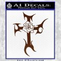 Cross Crucifix Decal Sticker Christian D2 BROWN Vinyl 120x120