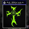 Cross Crucifix Decal Sticker Christian D2 Lime Green Vinyl 120x120