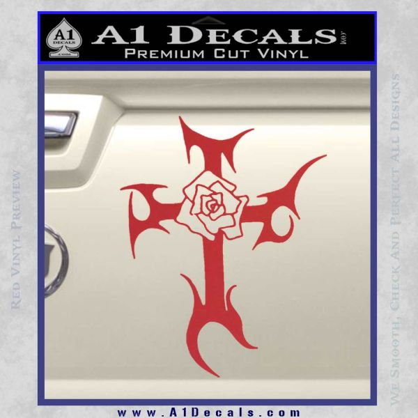 Cross Crucifix Decal Sticker Christian D2 Red
