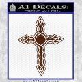Cross Crucifix Decal Sticker Christian D6 BROWN Vinyl 120x120