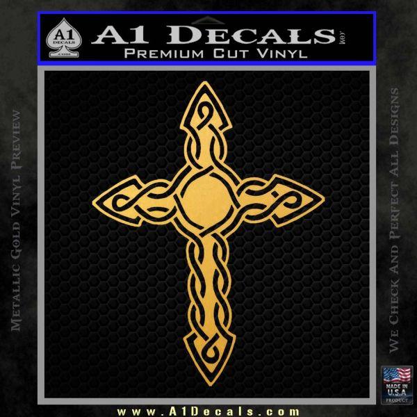 Cross Crucifix Decal Sticker Christian D6 Gold Vinyl