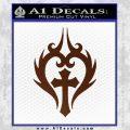 Cross Crucifix Decal Sticker Christian D8 BROWN Vinyl 120x120