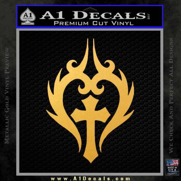 Cross Crucifix Decal Sticker Christian D8 Gold Vinyl