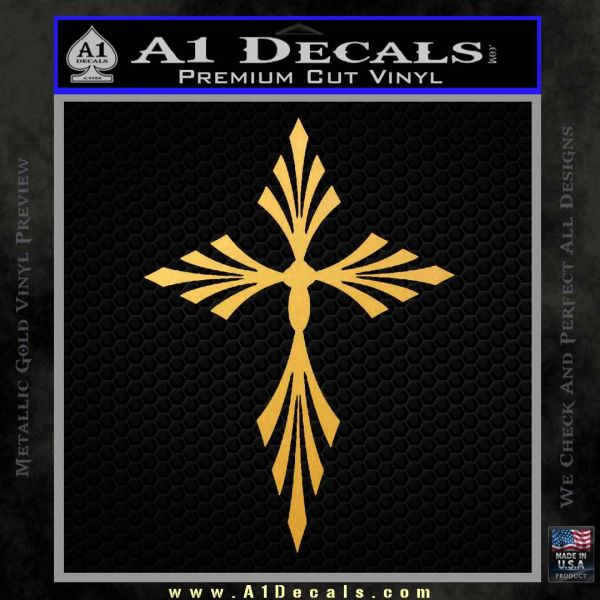 Cross Crucifix Decal Sticker Christian D9 Gold Vinyl