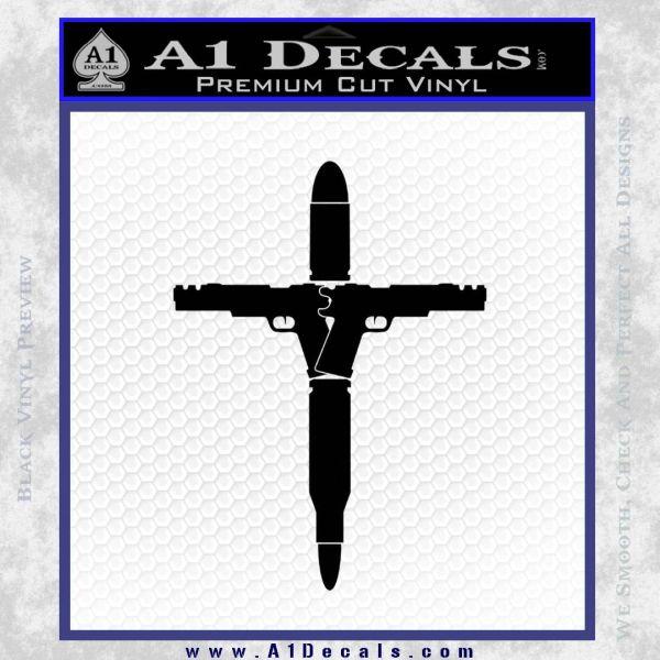 Cross Crucifix Guns Bullets Ammo Decal Sticker Black Vinyl