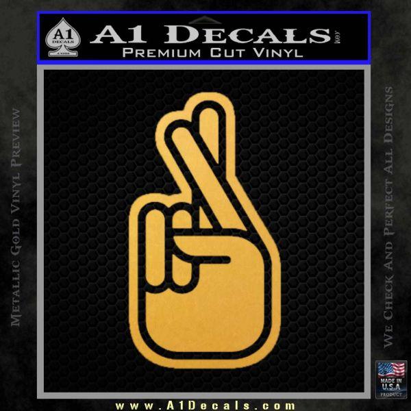 Crossed Fingers D2 Decal Sticker Gold Vinyl