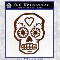 Day Of The Dead Skull Decal Sticker BROWN Vinyl 120x120