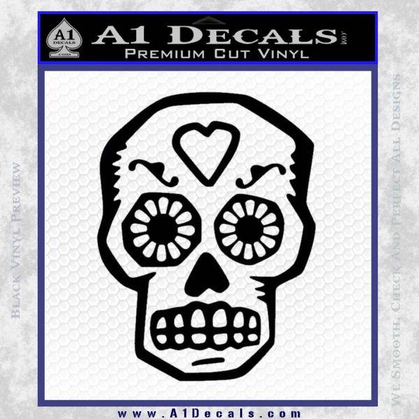 Day Of The Dead Skull Decal Sticker Black Vinyl