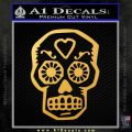 Day Of The Dead Skull Decal Sticker Gold Vinyl 120x120