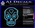 Day Of The Dead Skull Decal Sticker Light Blue Vinyl 120x97