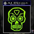Day Of The Dead Skull Decal Sticker Lime Green Vinyl 120x120