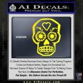 Day Of The Dead Skull Decal Sticker Yellow Laptop 120x120