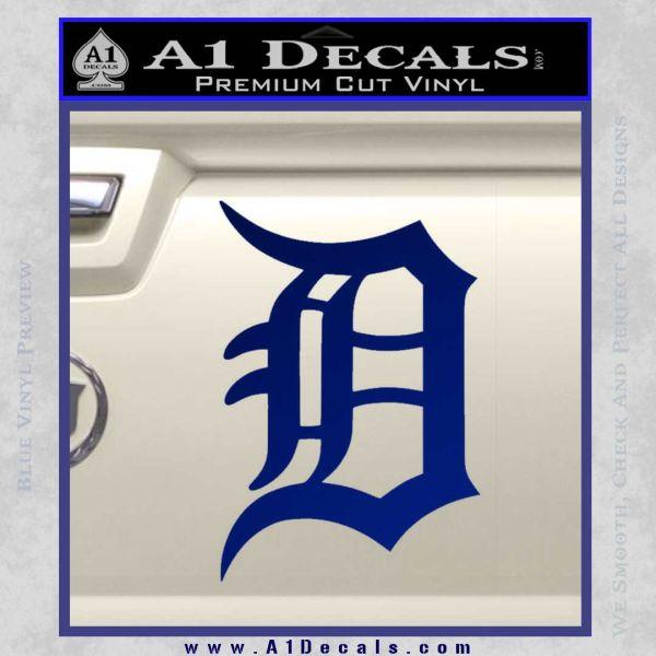 Detroit tigers d decal sticker blue vinyl