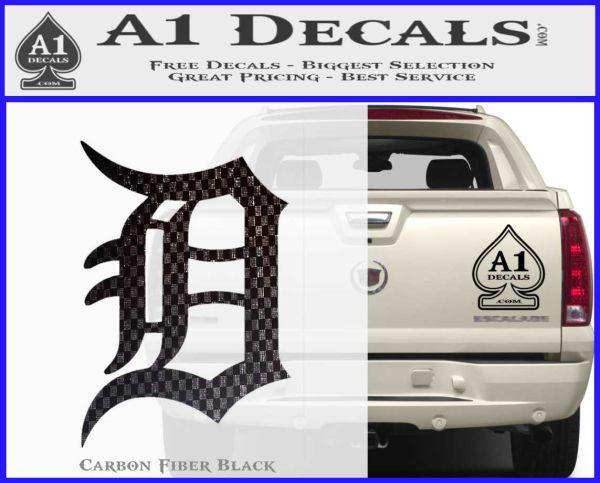 Detroit tigers d decal sticker carbon fiber black vinyl 120x97