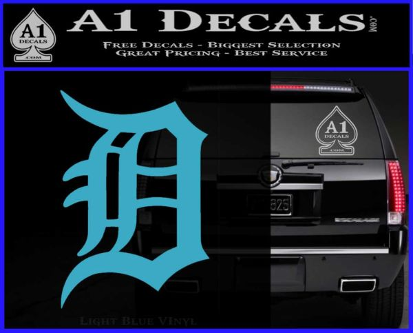 Detroit tigers d decal sticker light blue vinyl 120x97