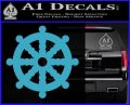 Dharma Wheel Decal Sticker Traditional Light Blue Vinyl 120x97
