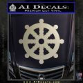Dharma Wheel Decal Sticker Traditional Metallic Silver Emblem 120x120