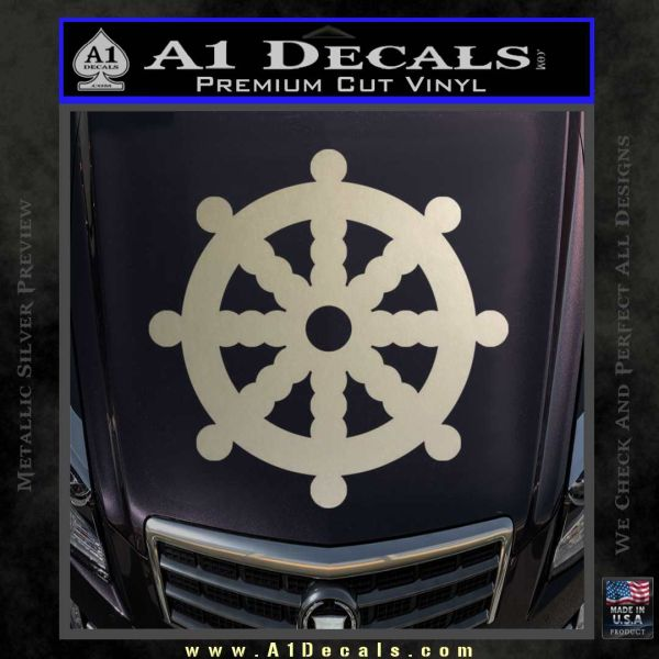Dharma Wheel Decal Sticker Traditional Metallic Silver Emblem