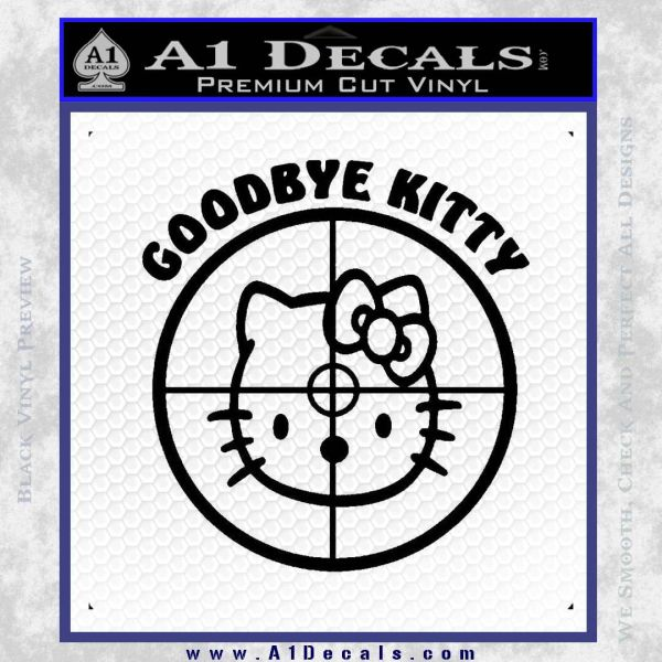 Goodbye Hello Kitty Scope Decal Sticker Black Vinyl