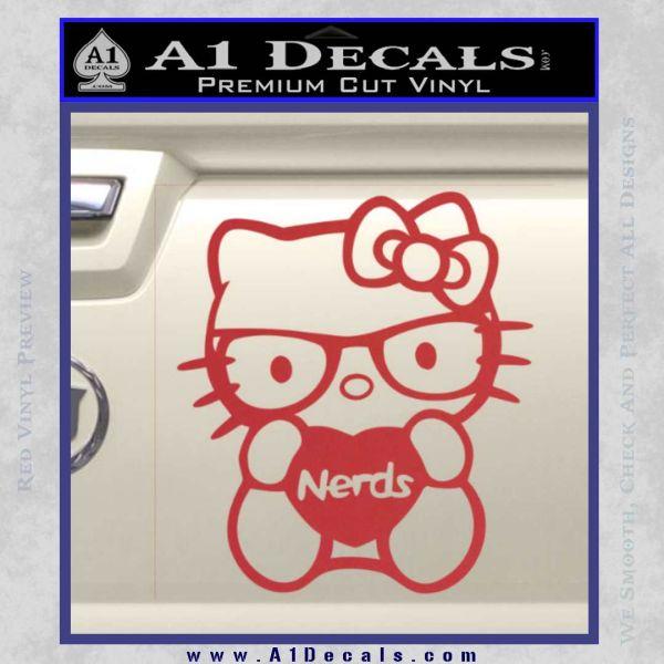 Hello Kitty Loves Nerds Decal Sticker Red