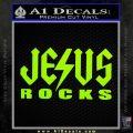 Jesus Rocks Decal Sticker Lime Green Vinyl 120x120