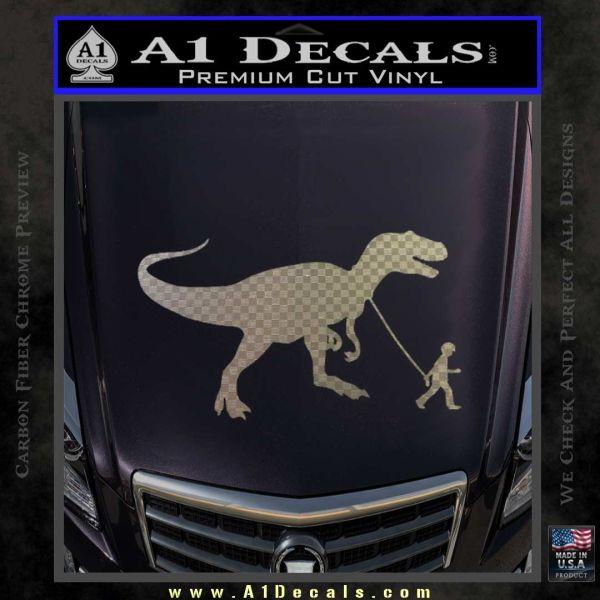 Jurassic park walking t rex decal sticker carbon fiber chrome vinyl 120x120
