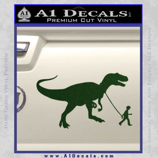 Jurassic Park Walking T Rex Decal Sticker Dark Green Vinyl