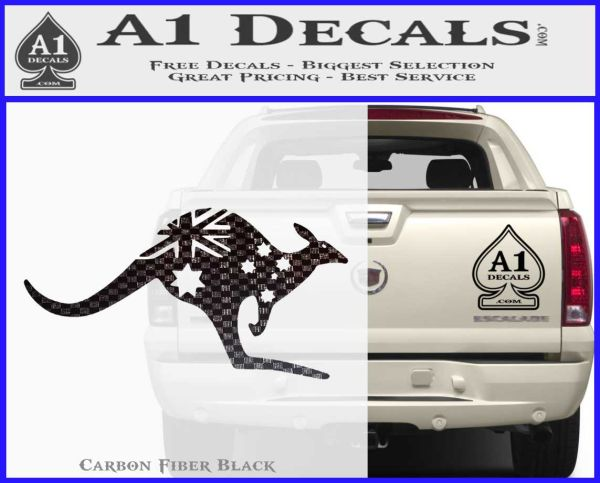 Kangaroo australia decal sticker carbon fiber black vinyl 120x97