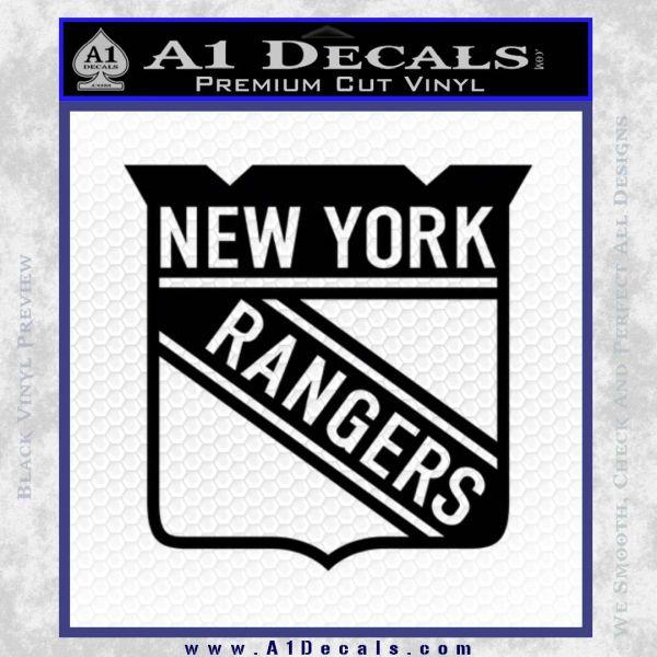 New York Rangers Decal Sticker Black Vinyl