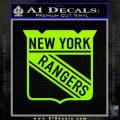 New York Rangers Decal Sticker Lime Green Vinyl 120x120