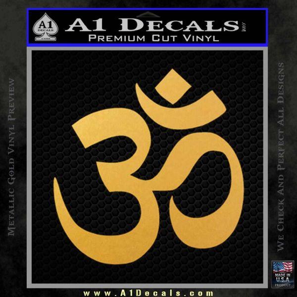 Om Symbol Decal Sticker Gold Vinyl