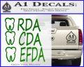RDA CDA EFDA Dental Dentist Decal Sticker Green Vinyl Logo 120x97