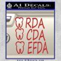 RDA CDA EFDA Dental Dentist Decal Sticker Red 120x120