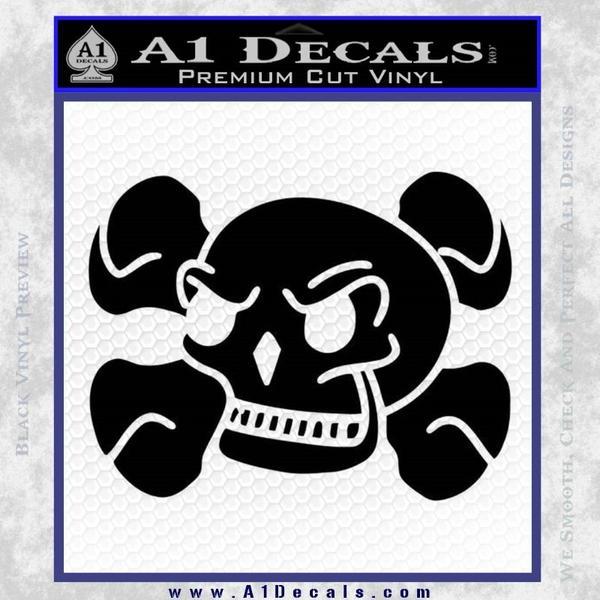 Skull and Cross Bones Stylized Decal Sticker Black Vinyl Black
