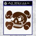 Skull and Cross Bones Stylized Decal Sticker Brown Vinyl Black 120x120
