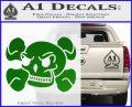 Skull and Cross Bones Stylized Decal Sticker Green Vinyl Black 120x97