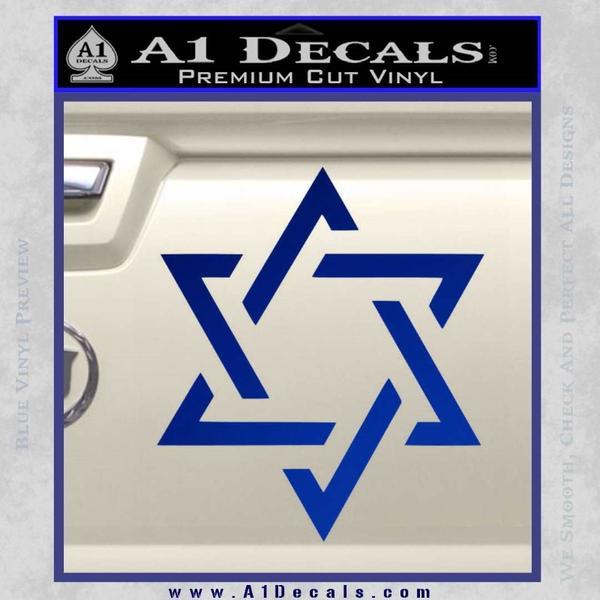 Star Of David Decal Sticker D1 Blue Vinyl Black