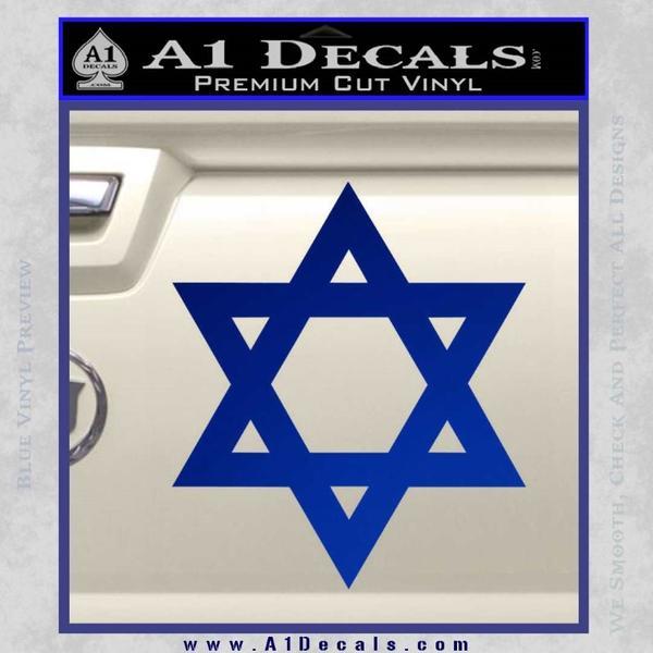 Star Of David Decal Sticker D2 Blue Vinyl Black