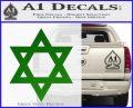 Star Of David Decal Sticker D2 Green Vinyl Black 120x97