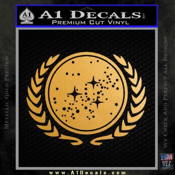 Star Trek Federation Decal Sticker Gold Metallic Vinyl Black