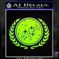 Star Trek Federation Decal Sticker Neon Green Vinyl Black 120x120