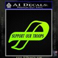 Support Our Troops Decal Sticker Intricate Neon Green Vinyl Black 120x120