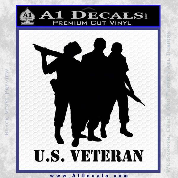 US Veterans Decal Sticker Army Navy Marine Air Force Black Vinyl