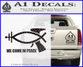 We Come In Peace Jesus Fish Decal Sticker Carbon FIber Black Vinyl 120x97