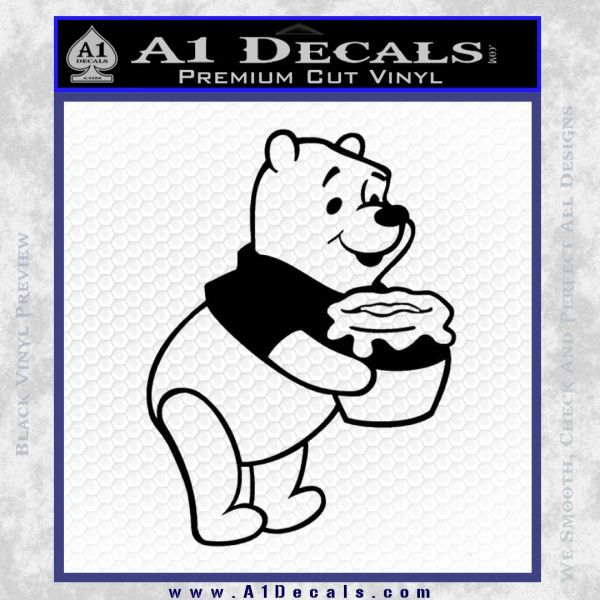 Winnie The Pooh Honey Pot Decal Sticker Black Vinyl
