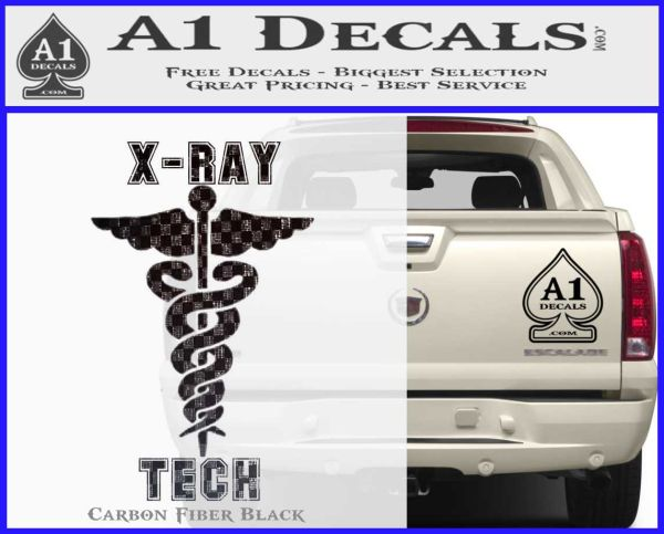 X ray tech medical decal sticker carbon fiber black vinyl 120x97