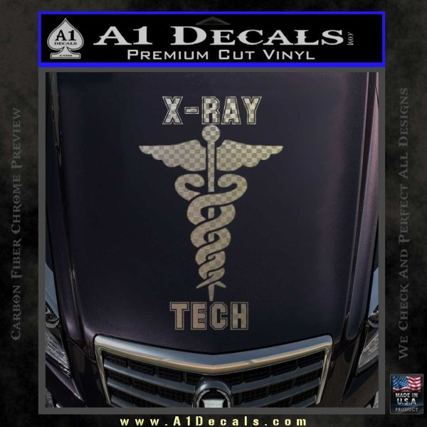 X ray tech medical decal sticker carbon fiber chrome vinyl 120x120
