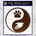 Yin Yang Hand Dog Paw Decal Sticker BROWN Vinyl 120x120